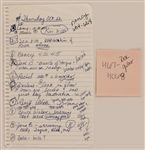 "Madonna Handwritten ""To-Do"" List"