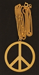 Prince Stage Worn Peace Sign Gold Necklace