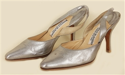 "Cher 1990s ""Hollywood Walk of Fame"" Owned and Worn Manolo Blahnik Silver Sling Back Heels"