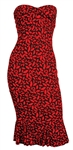 Kim Kardashian Owned & Worn DVF Red Lips Strapless Dress
