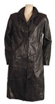 Whitney Houston Screen and Appearance Worn Versace Black Leather Trench Coat