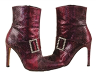 Beyoncé Owned and Worn Purple Leather Stiletto Ankle Boots With Rhinestone Buckles