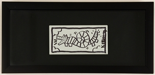 Keith Haring Original Painted and Signed Subway Tile