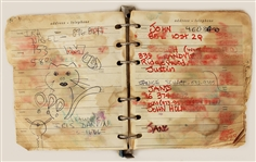 Joey Ramones Personal Handwritten Address Book With Hand Drawn Sketches