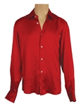 Michael Jackson Owned & Worn Red Long Sleeved Button Down Shirt