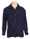 Michael Jackson Owned & Worn Blue Corduroy Long Sleeved Button Down Shirt
