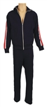 Elvis Presley Owned & Worn Blue Track Suit with Red and White Stripes