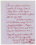 Prince Handwritten Letter to Personal Assistant Therese Stoulil