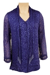 Prince Owned & Worn  Royal Blue Paisley Tunic With Attached Beaded Scarf