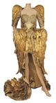 "Katy Perry ""The X Factor U.K."" Stage Worn Magnificent Custom Gold Feathered Dress"