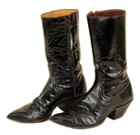 Jerry Lee Lewis Stage Worn Black Leather Cowboy Boots