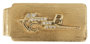 Elvis Presley Owned & Used 14kt Gold Diamond TCB  Money Clip with His Engraved Initials
