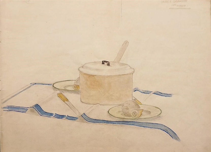 "Paul McCartney Original 1957 Double Sided Watercolor Painting Titled ""Object Drawing 17th March"" And ""Mystery P"""