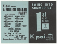 """Swing into Summer 64"" Original Hawaiian Concert Flyer Featuring The Beach Boys/Jan and Dean/The Kingsmen Original Concert Flyer"