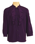 Prince Owned and Worn Purple and Black Diamond Ruffled Shirt