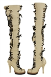 Lady Gaga Worn Custom Thigh-High Cream and Black Lace-Up Boots