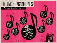 Concert Against Aids Original Concert Poster Featuring The Grateful Dead, John Fogerty, Tracy Chapman, Linda Ronstadt and More