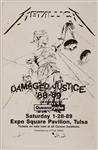 "Metallica ""Damaged Justice"" 1988-89 Tour Original Concert Poster with Queensryche"
