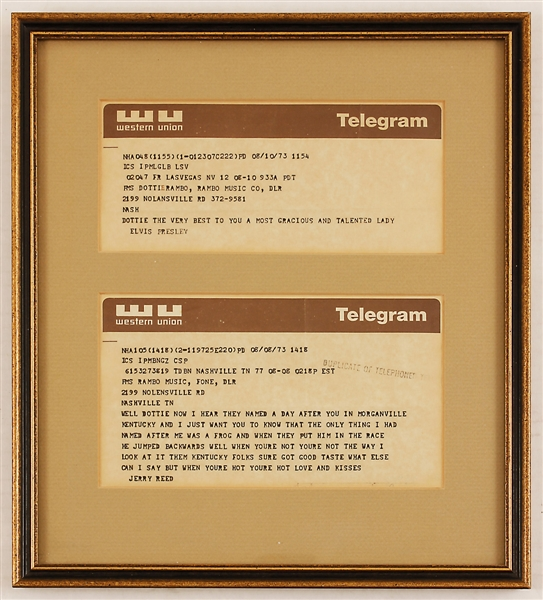 Lot Detail - Elvis Presley Original 1973 Telegram to Dottie