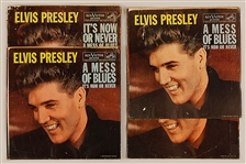 "Elvis Presley ""A Mess of Blues""/""Its Now or Never"" Rare 1967 45 Record Sleeves"