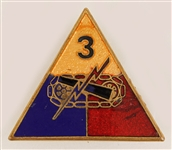 Elvis Presley Owned and Worn U.S. Army 3rd Armored Division G.I. Military Pin
