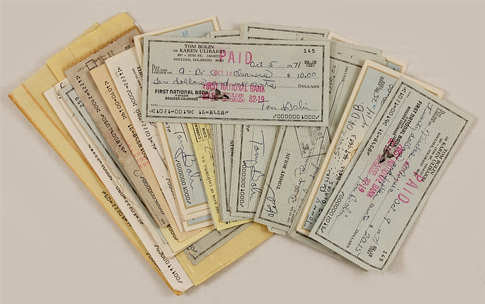 Tommy Bolin Signed Personal Check Collection
