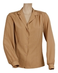 Liza Minnelli Owned & Worn Dark Beige Long-Sleeved Button Down Shirt