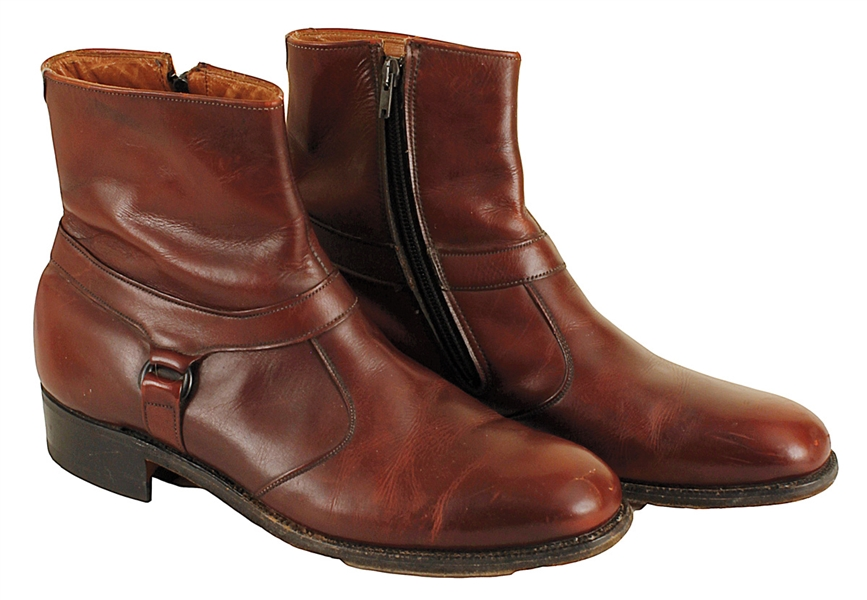 James Brown Owned and Worn Brown Leather Boots