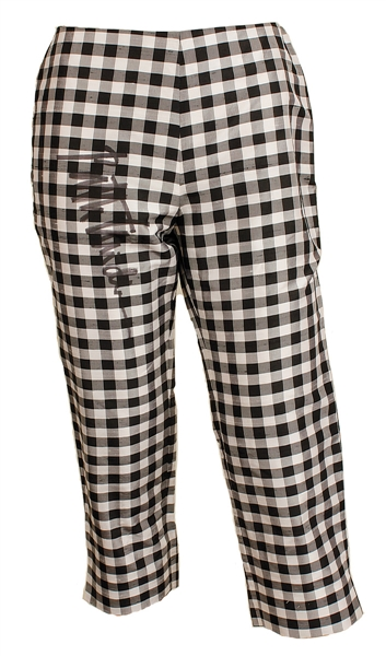 Bette Midler Worn and Signed Black & White Silk Checkered Capris