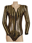 "Demi Lovato ""Future Now Tour"" Stage Worn and Signed Metallic Black & Gold Costume with Signed Photograph"