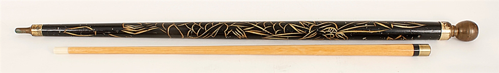 Elvis Presley Elaborately Engraved Black Cane/Pool Cue Given by Elvis to Dottie Rambo