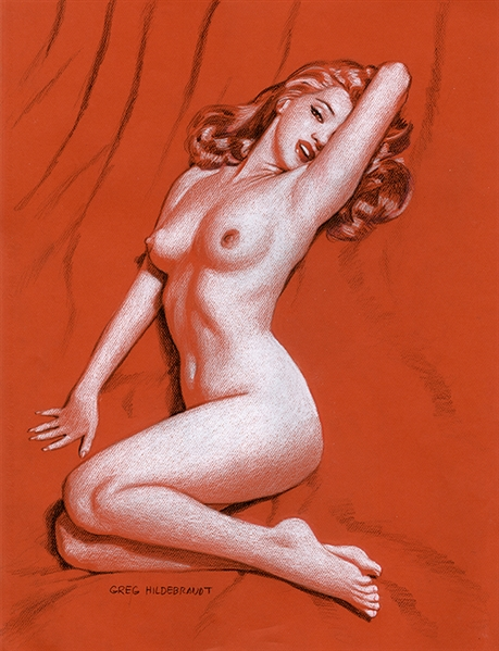 Greg Hildebrandt Signed Original Marilyn Monroe American Beauties Retro Pin-Up Final Pencil on Red Paper