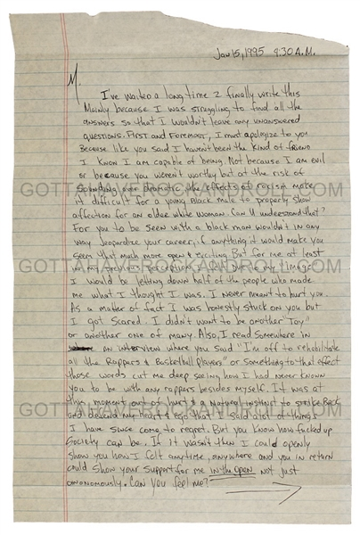 Tupac Shakur Handwritten & Signed Love Letter to Madonna from Prison