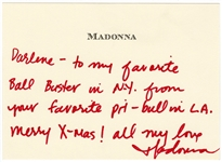 Madonna Handwritten & Signed Personal Note Card to Darlene Lutz