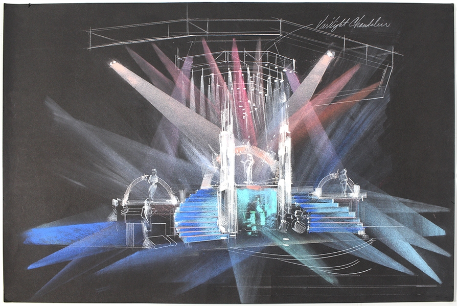 Madonna Original Concept Design Drawing for Her 1990 Blonde Ambition Tour (17 x 25)