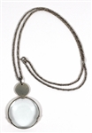 Madonna Owned and Re-Gifted Tiffany Sterling Silver Monacle Magnifier On Woven Necklace Circa 1989
