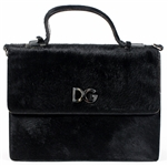 Madonna Owned and Re-Gifted Dolce & Gabbana Black Calf Hair & Patent Leather Handbag, Circa Mid-1990s
