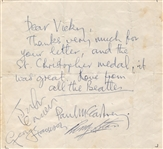 Beatles Paul McCartney Circa 1963 Handwritten Letter 1963 Signed by All Four Beatles with Frank Caiazzo LOA