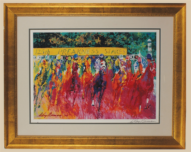 "LeRoy Neiman Signed ""125th Preakness Stakes"" Original Colorchrome Lithograph"