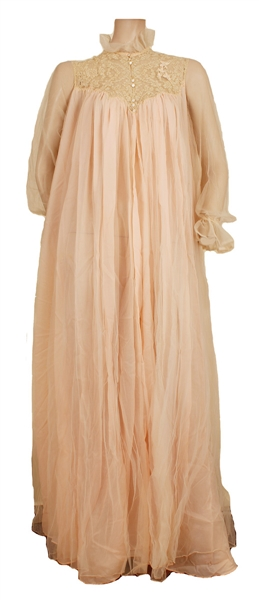 "Jacqueline Kennedy Owned & Worn ""Dijon, New York"" Pale Pink Nightgown with L.A. Times Article Featuring The Piece"