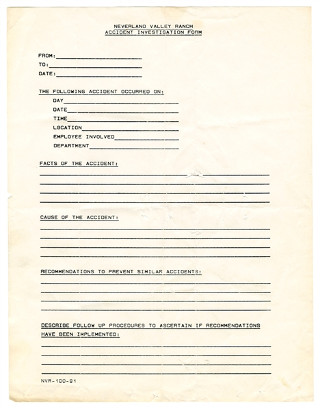 Michael Jackson Original Neverland Valley Ranch Accident Investigation Form