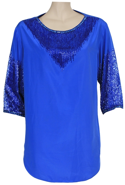 "Michael Jackson ""Victory"" Era 1980s Owned & Worn Blue Sequin Top"