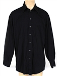 Michael Jackson Owned and Worn Dark Blue Long-Sleeved, Button Down Shirt