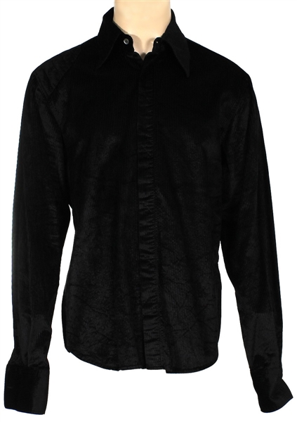 Michael Jackson Owned and Worn Black Long-Sleeved, Button Down Shirt