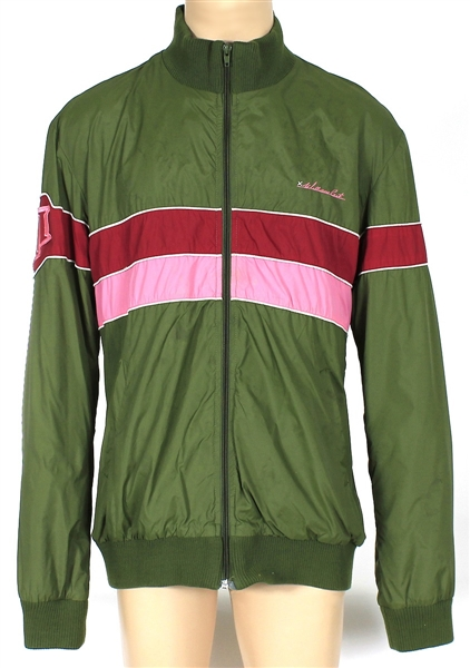 Justin Timberlake Owned  & Worn William Rast Green jacket With Pink and Red Stripes