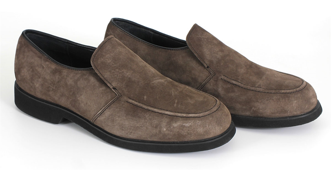 Tupac Shakur Owned and Worn Brown Suede Shoes