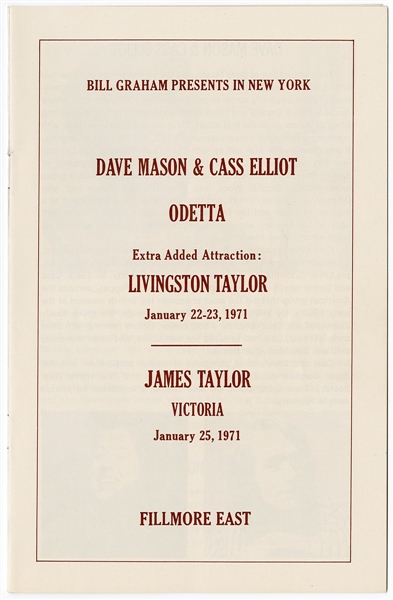 Dave Mason/Cass Elliot/James Taylor Original 1971 Fillmore East Concert Program
