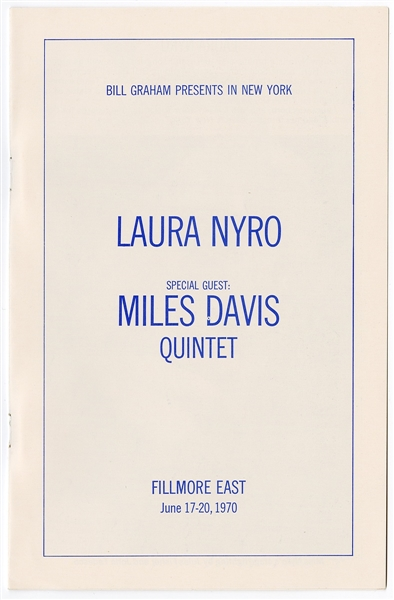 Laura Nyro/Miles Davis Original 1970 Fillmore East Concert Program