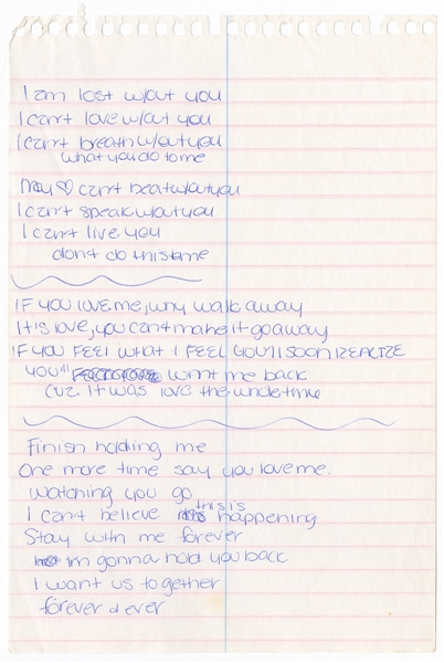 Britney Spears Handwritten Lyrics