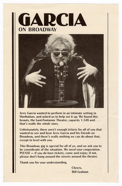 "Jerry Garcia ""Garcia on Broadway"" Original Bill Graham Handbill"